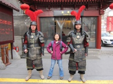 Susan was posing with two 'big' men!