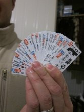 Little travel ticket vouchers.