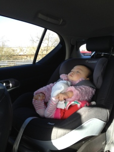 Annabelle was relaxing in the car.