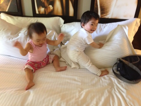 Ashton and Annabelle were so happy playing on the bed, and of course air-conditioned.
