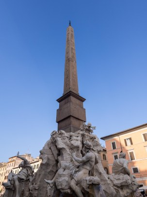 One of the three fountains in the Piazza.