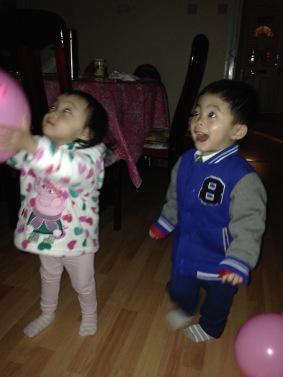 Ashton was screaming at balloons!