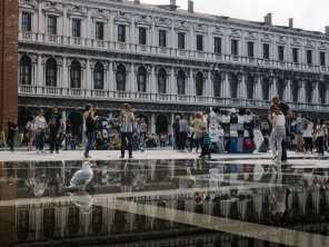The previous night rain left a big reflecting puddle in the middle of San Marco.