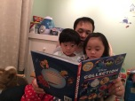 Bed time story time! Daddy was ready a new story book!
