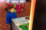 Ashton was so attached to the giant Flappy Bird game machine :)