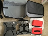 Case comes with two pre-cut foams for both Bebop 1 and Bebop 2, Two (red) accessories bags with velcro.