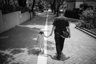 She loved walking with grandpa a lot.